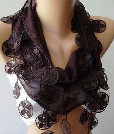 Plum Purple  Elegance Shawl / Scarf with Lacy Edge by womann, $9.90
