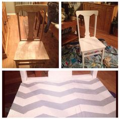 Upcycled chairs painted with chevron stripes!