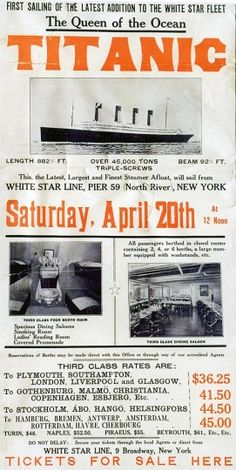A poster prepared by the White Star Line's New York office to promote the RMS Titanic's return trip from New York, scheduled for April 20, 1912. The largest ship afloat at the time, the Titanic sank in the north Atlantic Ocean on April 15, 1912, after colliding with an iceberg during her maiden voyage from Southampton to New York City