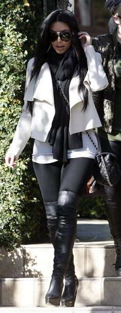 Kim Kardashian:  Purse – Chanel    Shoes – Lanvin    Scarf – T by Alexander Wang    Sunglasses – Porsche    Pants – Lna    Jacket – Camilla And Marc