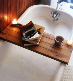 diy ideas, early mornings, bathtub, tray, book