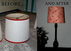 Have never found lamp shades that I actually liked so I bought a couple of old ones, cleaned them up and wrapped fabric around using a hot glue gun to attach. Very easy to do!