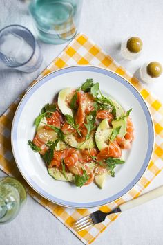 Salmon Sashimi, Avocado and Rocket Salad with a Wasabi Dressing | DonalSkehan