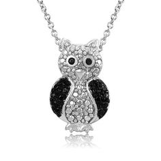 $12.99 - Black Diamond Accent Owl Pendant with Silver Plating