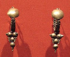 Hoop earrings with disk and with conical pendant of balls and granules, Roman period, Egypt, 2nd-3rd century AD museum jewelri