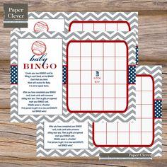 baby shower bingo chevron stripe, baseball theme - instant download, digital file on Etsy, $6.00