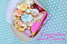 Conversation Heart Popcorn Recipe - Perfect for Valentine's Day and such an easy recipe!
