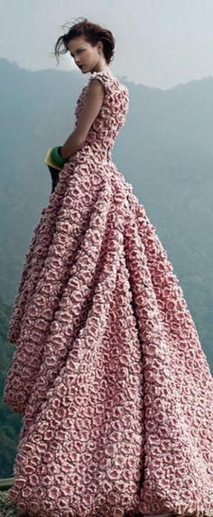 wedding dressses, pink roses, couture gowns, fashion styles, weddings, evening gowns, dresses, beauti, dusty rose