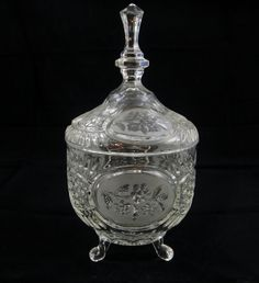 Vintage Glass Covered Candy Dish  Frosted Floral.