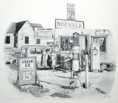 Green Go Gas by Joe Belt  Limited Edition print from an original pencil drawing.