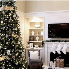 Christmas set up. Neutrals with a touch of gold. Love!