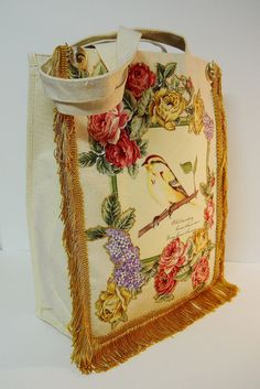 #Tote Bag Canvas #Custom #Hand #Painted #Floral #Bird by paulagsell,   Beautiful, made from the heart.