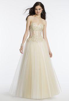 Camille La Vie Strapless Illusion Lace Prom Dress