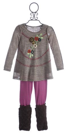 Baby Sara Girls Embroidered Tunic with Pink Striped Legging