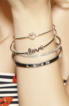 Ariella Collection 'Messages - Love' Script Station Bangle | Nordstrom