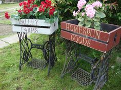 Old Sewing Machine Base + A Shabby Crate = An Awesome Planter!