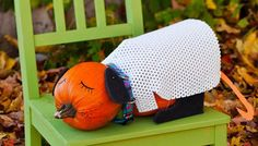 It only takes two pumpkins -- and no tools -- for kids to make this cute project.