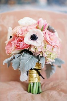 pink poppy, hydrangea, rose, tulip and succulent bouquet by Poppy Love Weddings