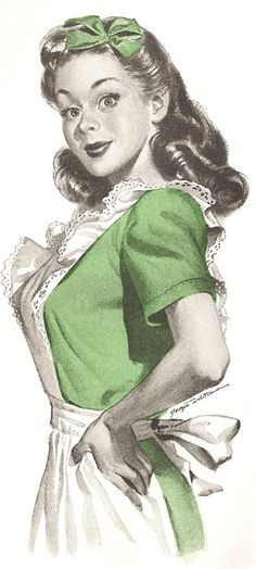 A cute 1950's housewife who's bow and apron seem especially well suited to St. Patty's Day. #vintage #housewife #homemaker #woman #apron #illustration #1950s #fifties