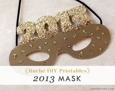 DIY 2013 New Year's Mask tutorial from Ruche. Printable template included!