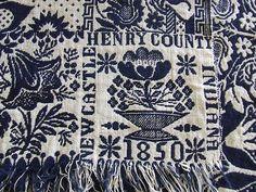 ANTIQUE VINTAGE 1850 COVERLET NEW CASTLE INDIANA HENRY Co INDIGO BLUE FLOWER