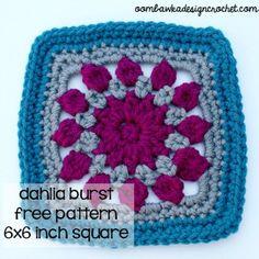 Dahlia burst square - free #crochet pattern
