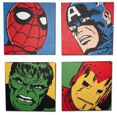 Marvel Comic Superhero Pop Art Set - Steven is painting these for the boys superhero room!!! :)) wall art, super hero, comic superhero, pop art, art paintings, canvas art, marvel comics, boy rooms, comic art