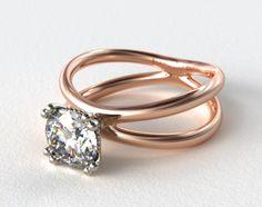 14K Rose Gold Criss Cross Diamond Solitaire #splitshank #rosegold #ring