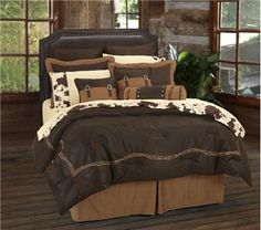 Barbed Wire Chocolate Brown Western Bedding Comforter Ensemble Accessories #DelectablyYours #Western #Bedding #Home #Decor