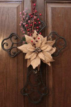 Christmas cross 'wreath' free shipping by aCraftyMishMosh on Etsy, $40.00