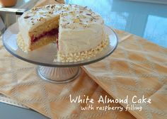 White Almond Cake with Raspberry Filling Shared on https://www.facebook.com/LowCarbZen | #LowCarb #Dessert #SugarFree #GlutenFree almond milk, almond cake, raspberri fill, wedding cakes, white almond, birthday cakes