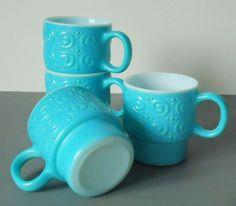 Vintage Turquoise Milk Glass Mugs - Stacking Mugs - Turquoise Milk Glass - Coffee Mugs
