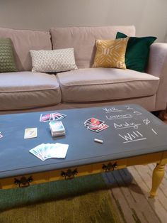 Chalkboard painted coffee table. Maybe I could make a game table using chalkboard to keep scores...