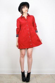 Vintage 90s Dress Babydoll Dress Red Dress Mini Dress Ribbed Corduroy Plaid 1990s Dress Grunge Dress Preppy Shirt Dress M Medium L Large by ShopTwitchVintage #vintage #etsy #90s #1990s #grunge #softgrunge #babydoll #mini #dress #plaid