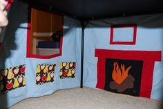 Another felt play house-lined