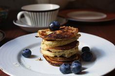 Breakfast almond pancakes | piecefully  Delish, very rich, very simple. Might make without the banana.