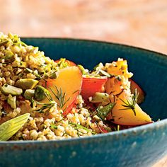 Cracked Wheat Salad with Nectarines, Parsley, and Pistachios | MyRecipes.com  A former household favorite that I'll be making for my new household tonight. Deliciousness in the form of a salad.