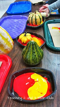 Teaching 2 and 3 Year Olds: Preschool Painting with Pumpkins and Gourds