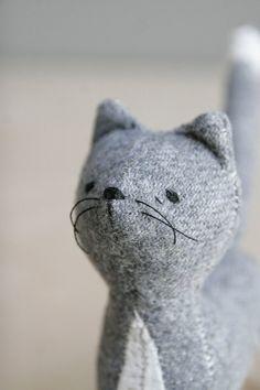 grey cat / soft sculpture animal by oh, albatross