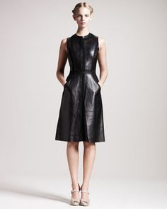 Embroidered Leather Dress by Valentino at Bergdorf Goodman.
