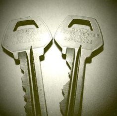 "2 keys from the World Trade Center - They're stamped ""World Trade Center - Do Not Duplicate"" (JEO: I, too, have 2 keys just like these! Each one was a key to a particular ladies' facility in each of the 2 towers, which were accessible before 9/11.)"