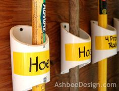 Ashbee Design uses PVC to organize garden tools.