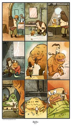 BFFs. By Chris Gugliotti, via Etsy. The whine the rancor made at the end of the scene always made me so sad... this is totally my new canon.