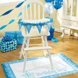 Baby boy first birthday high chair decorating! Brilliant!