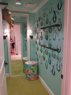 Lilly Pulitzer dressing room horses