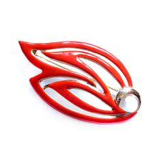 Vintage Leaf Brooch, Gold, Coral Red Enamel Pin