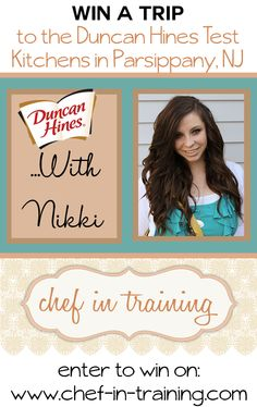 Come enter for your chance to win a trip to the Duncan Hines Test Kitchens with Nikki from chef-in-training.com #giveaway