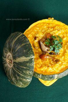 Risotto alla zucca e funghi - Pumpkin and mushroom risotto