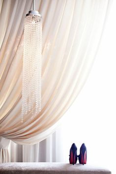 decor, crystals, curtains, red shoes, chandeli, heel, lamp, light, blush