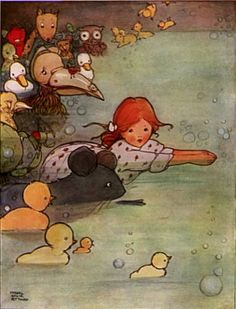 Darling Illustration of Alice in the Pool of Tears by Mabel Lucie Attwell
